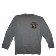 Tričko SDH dlouhý rukáv šedý melír se znakem SDH a  nápisem Hasiči