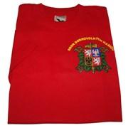 Tričko SDH dlouhý rukáv červené se znakem SDH a  nápisem Hasiči